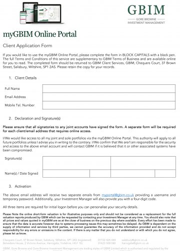 myGBIM Client Application Form