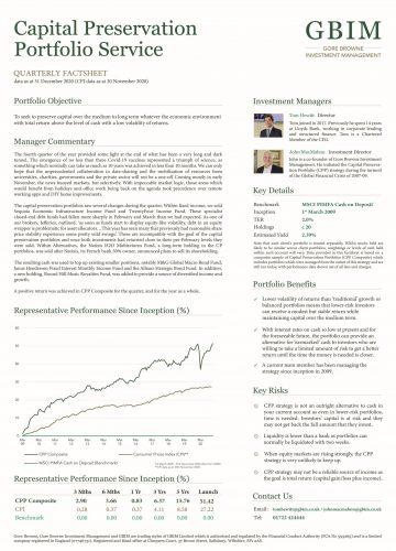 Capital Preservation Portfolio Service Q4 2020